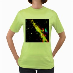 Galaxy Deep Space Space Universe Stars Nebula Women s Green T Shirt by Amaryn4rt