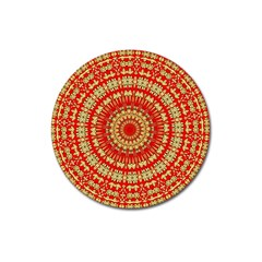 Gold And Red Mandala Magnet 3  (round) by Amaryn4rt