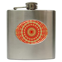 Gold And Red Mandala Hip Flask (6 Oz)