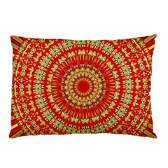 Gold And Red Mandala Pillow Case (two Sides) by Amaryn4rt