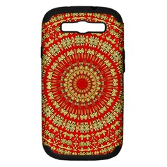 Gold And Red Mandala Samsung Galaxy S Iii Hardshell Case (pc+silicone) by Amaryn4rt
