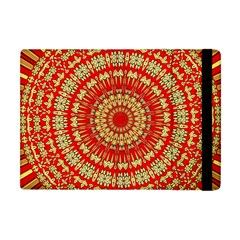 Gold And Red Mandala Apple Ipad Mini Flip Case by Amaryn4rt