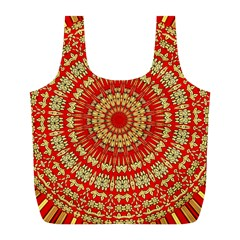 Gold And Red Mandala Full Print Recycle Bags (l)  by Amaryn4rt