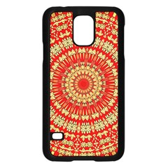 Gold And Red Mandala Samsung Galaxy S5 Case (black) by Amaryn4rt