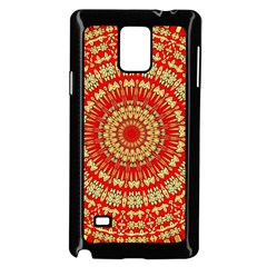 Gold And Red Mandala Samsung Galaxy Note 4 Case (black) by Amaryn4rt