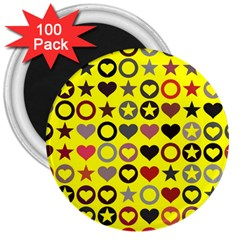 Heart Circle Star Seamless Pattern 3  Magnets (100 Pack) by Amaryn4rt
