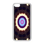 Mandala Art Design Pattern Ornament Flower Floral Apple iPhone 5C Seamless Case (White) Front