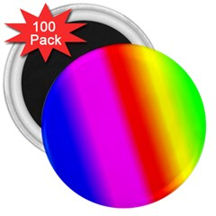 Multi Color Rainbow Background 3  Magnets (100 Pack)