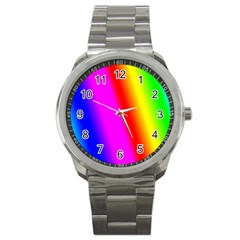 Multi Color Rainbow Background Sport Metal Watch by Amaryn4rt