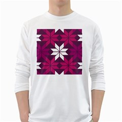 Pattern Background Texture Aztec White Long Sleeve T Shirts by Amaryn4rt
