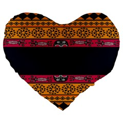 Pattern Ornaments Africa Safari Summer Graphic Large 19  Premium Heart Shape Cushions by Amaryn4rt