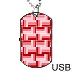 Pink Red Burgundy Pattern Stripes Dog Tag Usb Flash (two Sides) by Amaryn4rt
