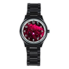 Pistol Star And Nebula Stainless Steel Round Watch by Amaryn4rt