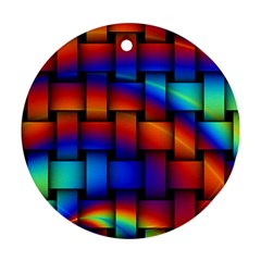 Rainbow Weaving Pattern Round Ornament (two Sides) by Amaryn4rt