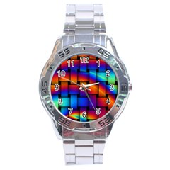 Rainbow Weaving Pattern Stainless Steel Analogue Watch