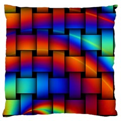 Rainbow Weaving Pattern Large Cushion Case (two Sides) by Amaryn4rt