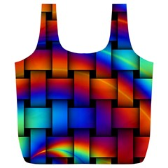 Rainbow Weaving Pattern Full Print Recycle Bags (l)  by Amaryn4rt