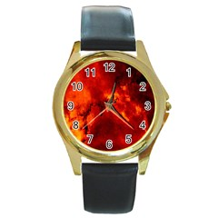 Star Clusters Rosette Nebula Star Round Gold Metal Watch by Amaryn4rt