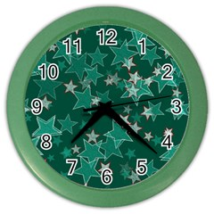 Star Seamless Tile Background Abstract Color Wall Clocks