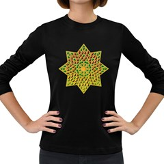 Star Pattern Tile Background Image Women s Long Sleeve Dark T Shirts