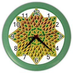 Star Pattern Tile Background Image Color Wall Clocks by Amaryn4rt
