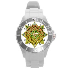 Star Pattern Tile Background Image Round Plastic Sport Watch (l) by Amaryn4rt