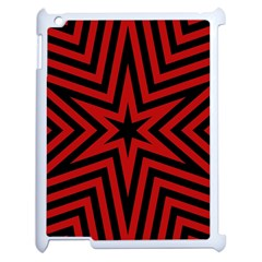 Star Red Kaleidoscope Pattern Apple Ipad 2 Case (white) by Amaryn4rt