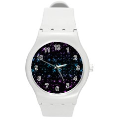 Stars Pattern Seamless Design Round Plastic Sport Watch (m) by Amaryn4rt