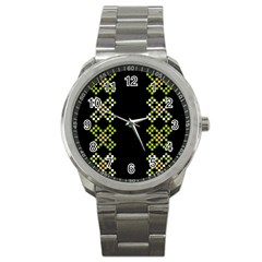 Vintage Pattern Background  Vector Seamless Sport Metal Watch by Amaryn4rt