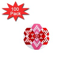 Valentine Heart Love Pattern 1  Mini Magnets (100 Pack)  by Amaryn4rt
