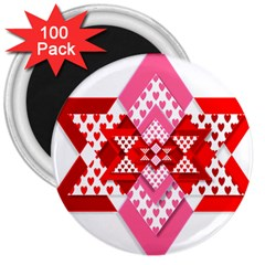 Valentine Heart Love Pattern 3  Magnets (100 Pack) by Amaryn4rt