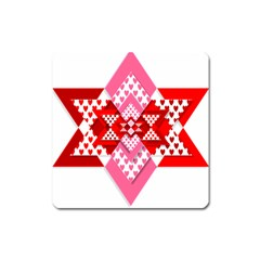Valentine Heart Love Pattern Square Magnet by Amaryn4rt