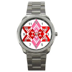 Valentine Heart Love Pattern Sport Metal Watch by Amaryn4rt