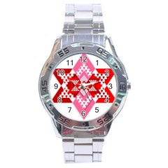 Valentine Heart Love Pattern Stainless Steel Analogue Watch by Amaryn4rt