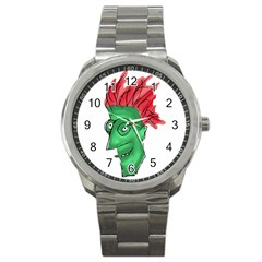 Crazy Man Drawing  Sport Metal Watch by dflcprintsclothing