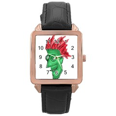 Crazy Man Drawing  Rose Gold Leather Watch