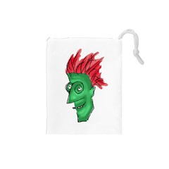 Crazy Man Drawing  Drawstring Pouches (small)