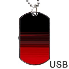 Abstract Of Red Horizontal Lines Dog Tag Usb Flash (one Side) by Amaryn4rt