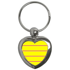 Background Image Horizontal Lines And Stripes Seamless Tileable Magenta Yellow Key Chains (heart)  by Amaryn4rt