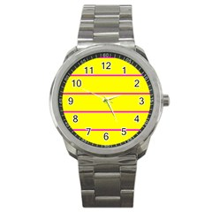 Background Image Horizontal Lines And Stripes Seamless Tileable Magenta Yellow Sport Metal Watch by Amaryn4rt