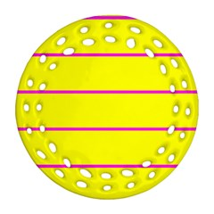 Background Image Horizontal Lines And Stripes Seamless Tileable Magenta Yellow Round Filigree Ornament (two Sides) by Amaryn4rt
