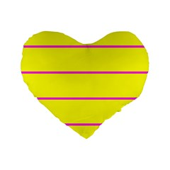 Background Image Horizontal Lines And Stripes Seamless Tileable Magenta Yellow Standard 16  Premium Flano Heart Shape Cushions by Amaryn4rt
