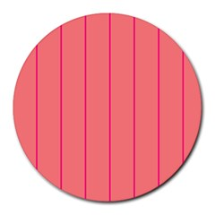 Background Image Vertical Lines And Stripes Seamless Tileable Deep Pink Salmon Round Mousepads by Amaryn4rt