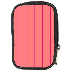 Background Image Vertical Lines And Stripes Seamless Tileable Deep Pink Salmon Compact Camera Cases by Amaryn4rt