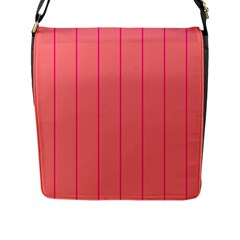 Background Image Vertical Lines And Stripes Seamless Tileable Deep Pink Salmon Flap Messenger Bag (l)  by Amaryn4rt