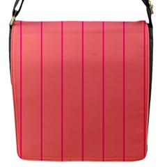 Background Image Vertical Lines And Stripes Seamless Tileable Deep Pink Salmon Flap Messenger Bag (s) by Amaryn4rt