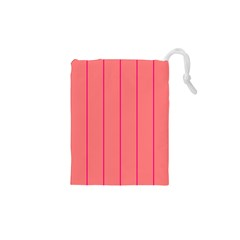Background Image Vertical Lines And Stripes Seamless Tileable Deep Pink Salmon Drawstring Pouches (xs)  by Amaryn4rt