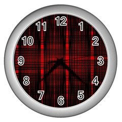 Black And Red Backgrounds Wall Clocks (silver)  by Amaryn4rt