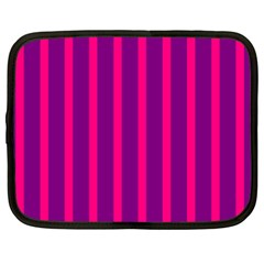 Deep Pink And Black Vertical Lines Netbook Case (xxl)  by Amaryn4rt