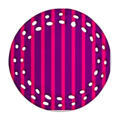 Deep Pink And Black Vertical Lines Ornament (round Filigree)